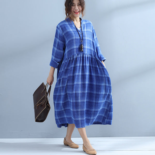 Cotton Linen Women Lattice Spring Blue Dress - Buykud