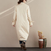Women Autumn Winter Lacing Long Sleeve Beige Embroidery Long Coat - Buykud