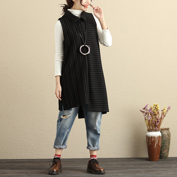 Polo Collar Black And White Stripe Special Design Women Splicing Vest Shirt