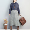Polo Collar Single Breasted Long Sleeve Stripe Pockets Dress - Buykud