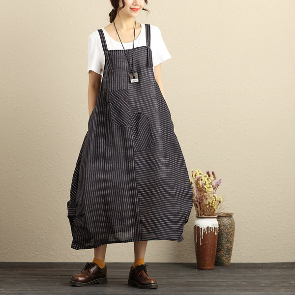 Literature Women Black Stripe Jumpsuit +White Shirt (Sell Seperately) - Buykud