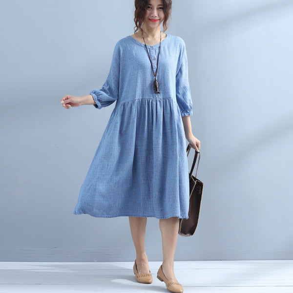 Simple Cotton Linen Women Casual Blue Dress - Buykud