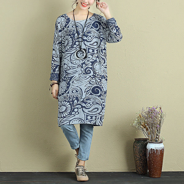 Vintage Women Loose Printing Autumn Long Sleeves Blue Shirt - Buykud