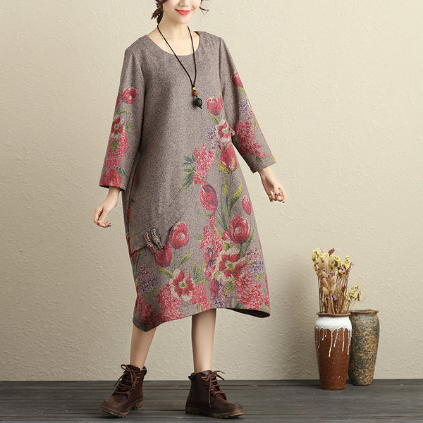 Winter Casual Cotton Floral Print Gray Women Dress