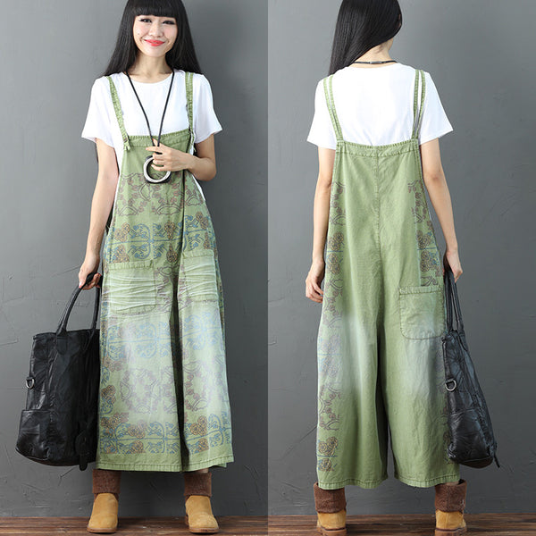 Printing Pocket Pocket Casual Women Green Overalls