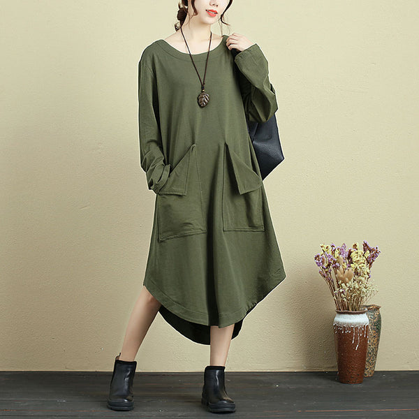 Round Neck Long Sleeve With Pocket Solid Color Dress For Women - Buykud