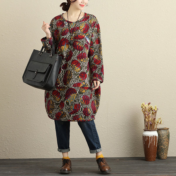 Baggy Women Casual Cotton Colorful Print Autumn Winter Dress
