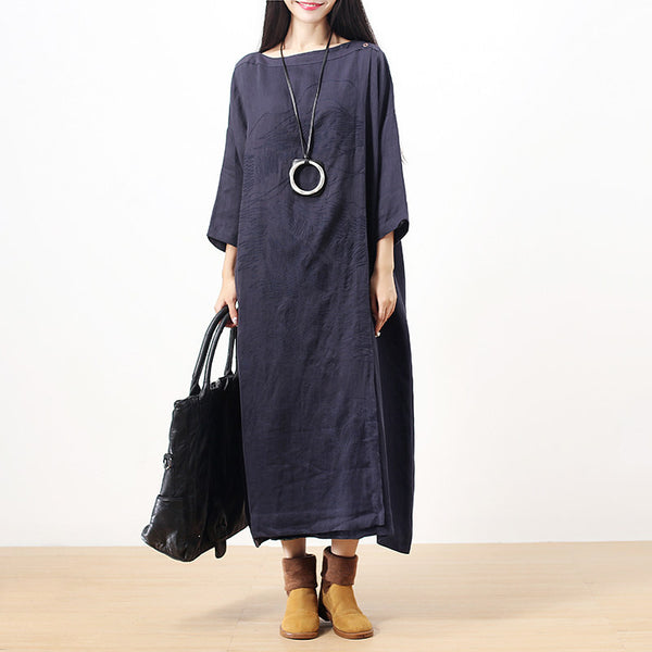 Chic Embroidery Literature Short Sleeve Splitting Navy Blue Women Dress - Buykud