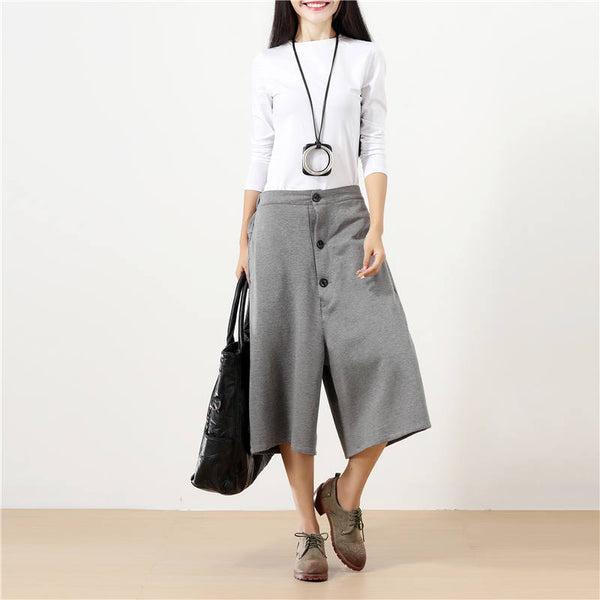Women Calf Length Buttons Pockets Casual Solid Gray Wide Leg Pants - Buykud