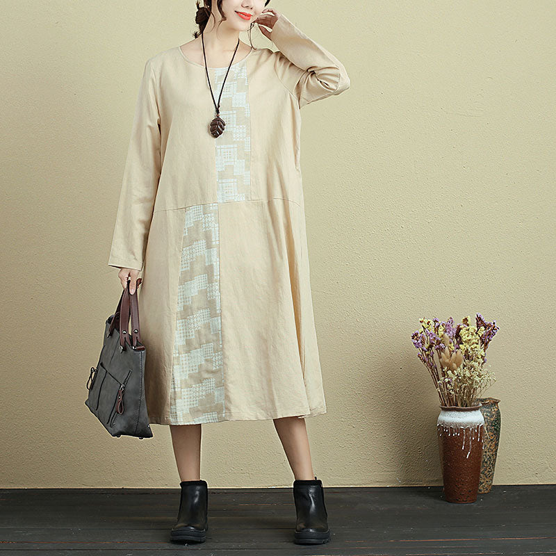 Stylish Splicing Women Round Neck Long Sleeve Casual Loose Dress - Buykud