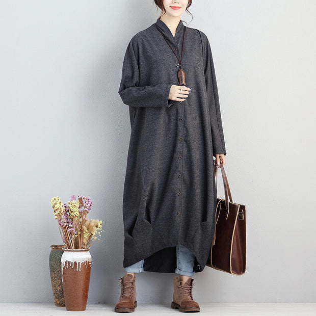 Women Single Breasted Long Sleeve Pockets Pleated Coat - Buykud