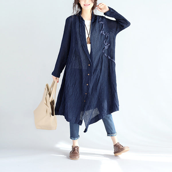 Spring Women Linen Blue Coat