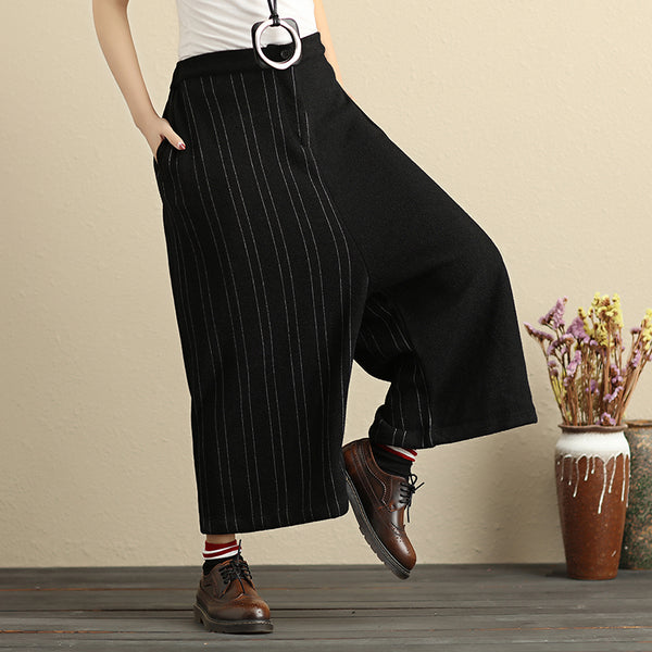 Fashion Black And White Stripe Splicing Women Straight Wide Leg Pants