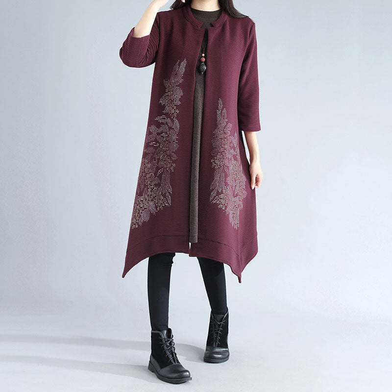 Retro Women Red Cardigan Three Quarter Sleeve Printing Irregular Coat - Buykud