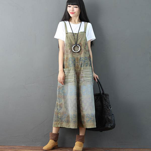Printing Pocket Pocket Casual Women Coffee Overalls - Buykud