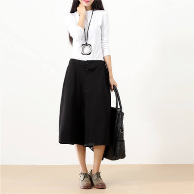 Women Calf Length Buttons Pockets Casual Solid Black Wide Leg Pants - Buykud