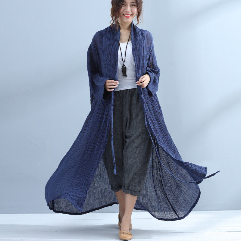 Linen Women Wrinkled Lacing Navy Blue Coat - Buykud