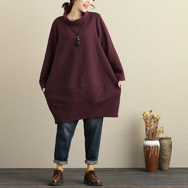 Winter Casual Cotton Long Sleeves Wine Red Women Dress