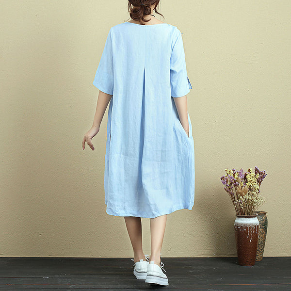 Literature Fresh Round Neck Short Sleeve Light Blue Knee Length Dress For Women - Buykud