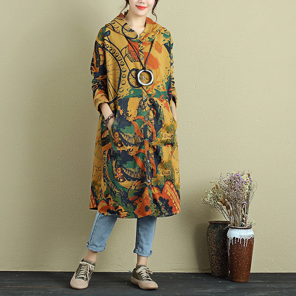 Exotic Stylish Autumn Women Colorful Printing Hoodie Yellow Shirt - Buykud