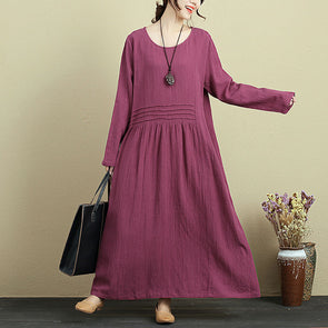 Loose Round Neck Long Sleeve Pleated Maxi Dress For Women - Buykud
