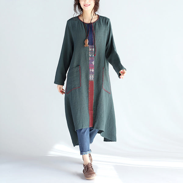 Loose Irregular Casual Linen Women Splicing Green Coat