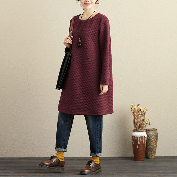 Casual Cotton Keep Warm Wine Red Winter Women Dress - Buykud
