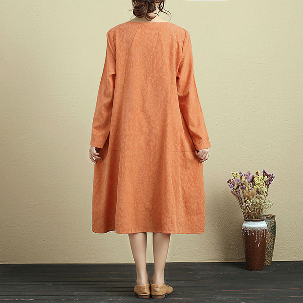 Casual Loose Round Neck Long Sleeve Orange Dress For Women - Buykud