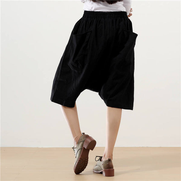 Casual Linen Big Pockets Loose Black Women Pants - Buykud