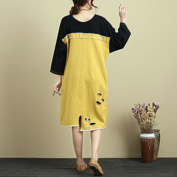 Casual Loose Round Neck Splicing Dress For Women - Buykud