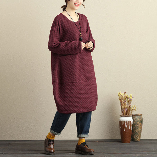 Casual Cotton Long Sleeves Wine Red Winter Women Dress - Buykud