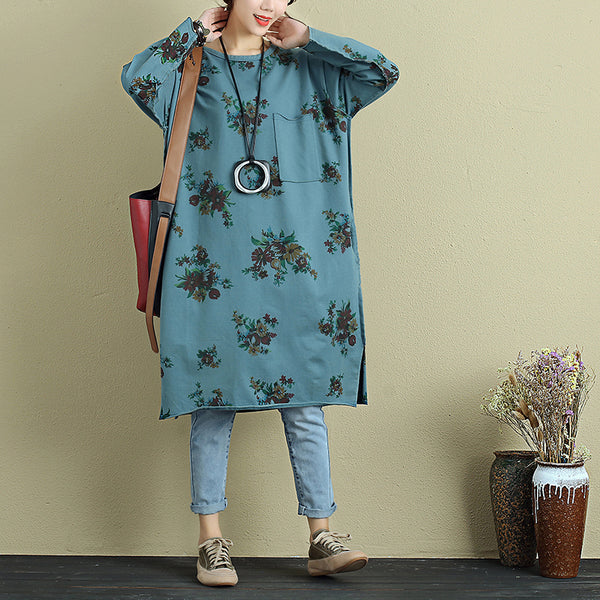 Women Autumn Retro Printing Split Long Sleeves Blue Shirt - Buykud