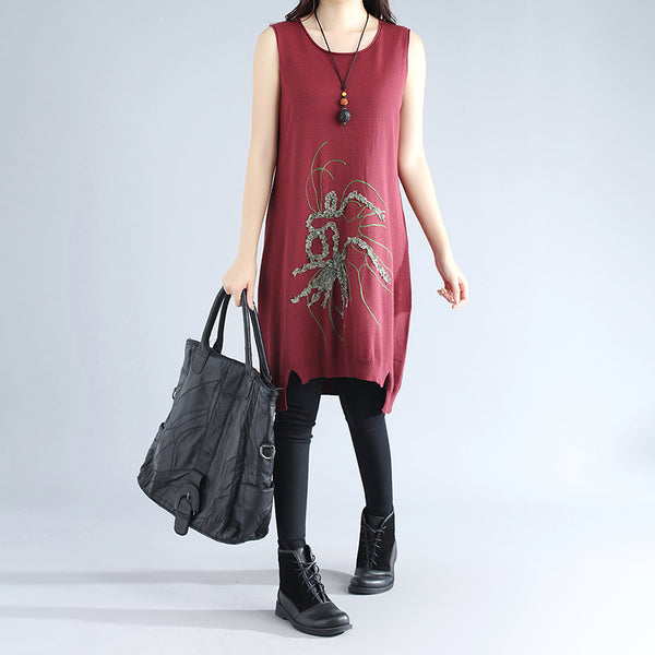 Women Retro Sleeveless Applique Irregular Wine Red Sweater Dress - Buykud