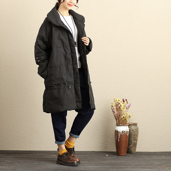 Winter Thick Keep Warm Polyester Solid Black Knee Length Coat For Women - Buykud