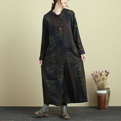 Printing Hooded Single Breasted Autumn Coat For Women - Buykud