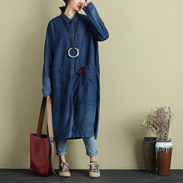 Stylish Women Casual Loose Double Pocket Split Blue Denim Shirt - Buykud
