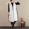 Women Autumn Winter Lapel Stripe Double-Breasted White Long Vest - Buykud