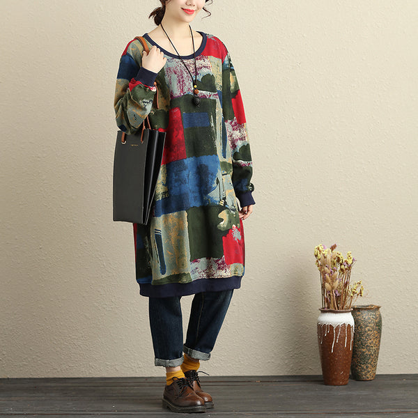 Women Casual Cotton Winter Colorful Dress Keep Warm
