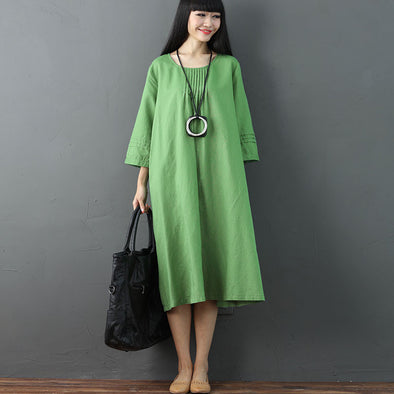 Simple Round Neck Women Green Casual Dress - Buykud