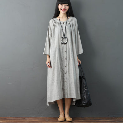 Women Linen Cotton Single Breasted Long Sleeves Gray Summer Dress - Buykud
