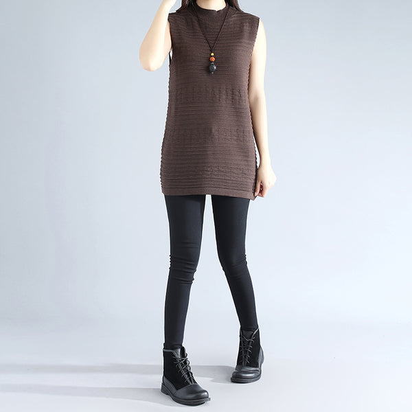 Sleeveless Literature Cotton Polyester Elegant Women Coffee Sweater Shirt - Buykud