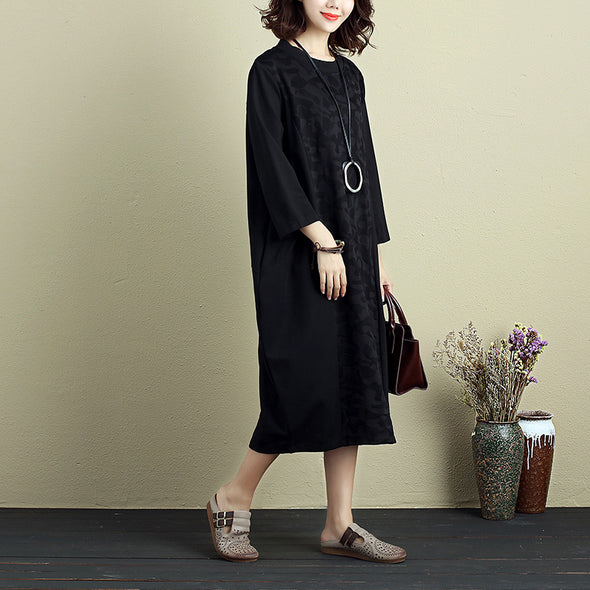 Chic Jacquard Women Round Neck Three Quarter Sleeve Splicing Black Dress - Buykud