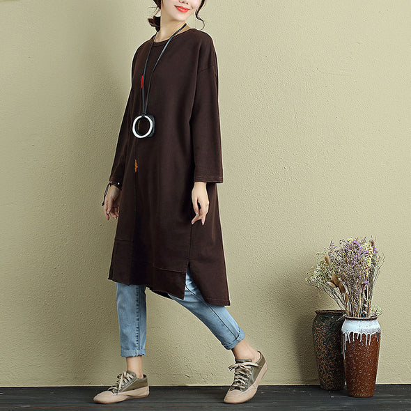 Women Casual Three Quarter Sleeve Embroidery Pockets Side Slit Dress - Buykud
