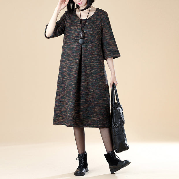 Women Casual 1/2 Sleeve Button Spring Autumn Dress - Buykud