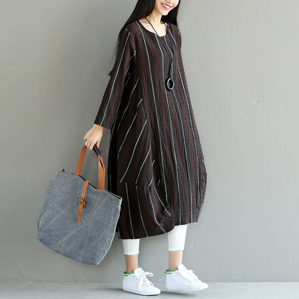 Splicing Loose Women Casual Irregular Coffee Dress