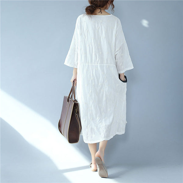 Embroidered Cotton Women Casual Three Quarter Sleeve White Dress - Buykud