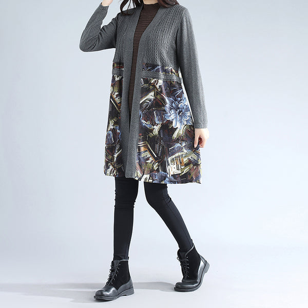 Retro Women Long Sleeve Patchwork Printing Cardigan Gray Sweater - Buykud
