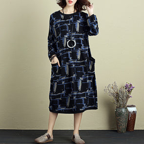 Cotton Linen Women Retro Round Neck Long Sleeve Printing Dress - Buykud
