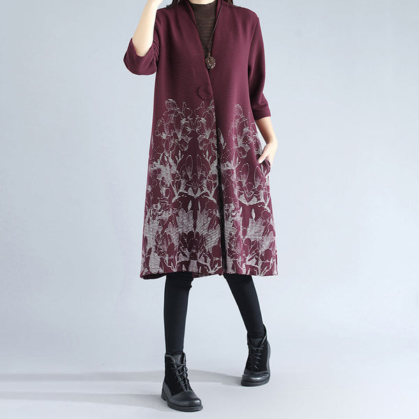 Women Chic Jacquard Printing Three Quarter Sleeve Red Coat - Buykud