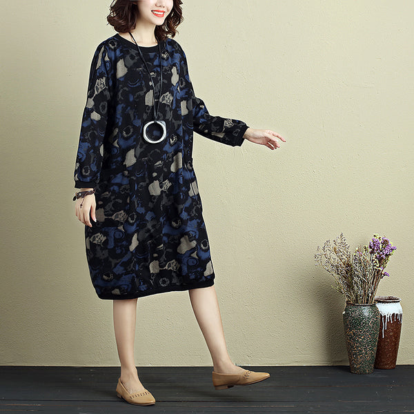 Elegant Women Round Neck Long Sleeve Mixed Color Printing Dress - Buykud
